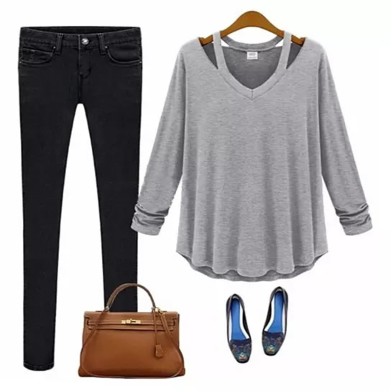 Lounge Top Long Sleeves Cut Out Style Easy Wear - Heather Gray, Small 588123832c043d2c4020f6b4