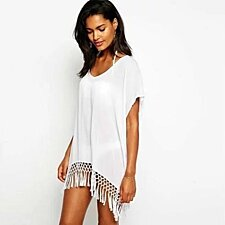 MID SUMMER NIGHT WHITE FRINGE TRIM TUNIC