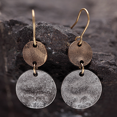 BOGO Hammered Disc Earrings in Silver and Copper Patina Finish