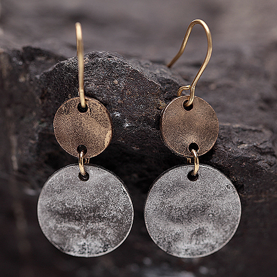 Bogo Hammered Disc Earrings In Silver And Copper Patina Finish By Vista S On Opensky