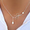 Pearls Of Joy Lariat 2 Pearls and Multi Pearls Necklace In White Gold And Yellow Gold Plating