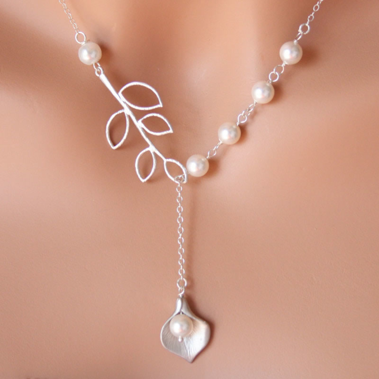 Pearly Lily Sterling Silver And Real Pearl Lariat Necklace