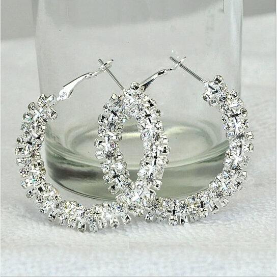 Buy Rock Crystal Hoop Earrings in Silver Polished by Vista ...