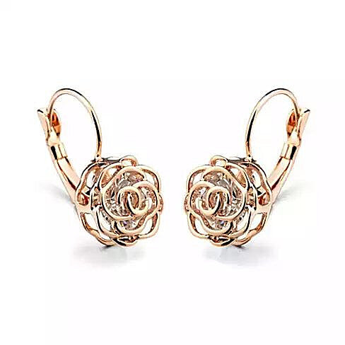 Rose Is A Rose  Earrings 18kt Rose Crystals In White Yellow And Rose Gold Plating