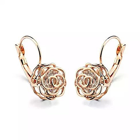 Rose Is A Earrings 18kt Crystals In White Yellow And Gold Plating By Vista S On Opensky