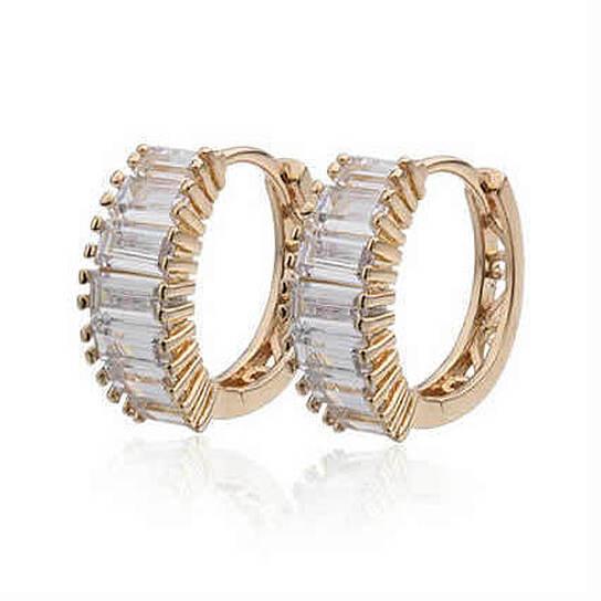 Buy Shiny Baguettes Hoop Earrings In Baguette Stones