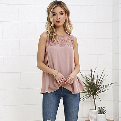 Flora Sleeveless Top with Lace Neckline in 2 Styles