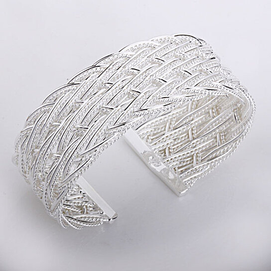 Sleek Silver Cuff Bracelet Italian Design In 925 Sterling Plating By Vista S On Opensky
