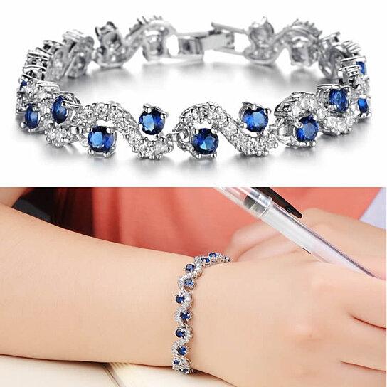 Oceana Diamond Crystal Bracelets In White Gold Plating