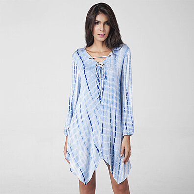 Tie Dye Lace-Up Festival Tunic - Plus Sizes Too
