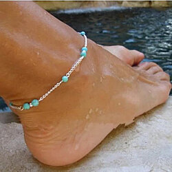 Tarnish-Resistant Mermaid Turquoise Beaded Silver Anklet