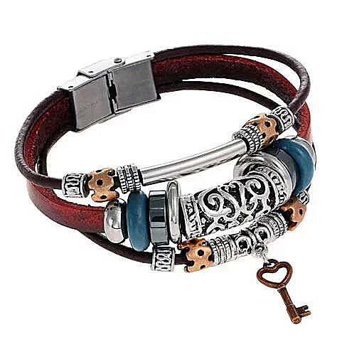 Layered Vegan Leather Key Charm Bracelet