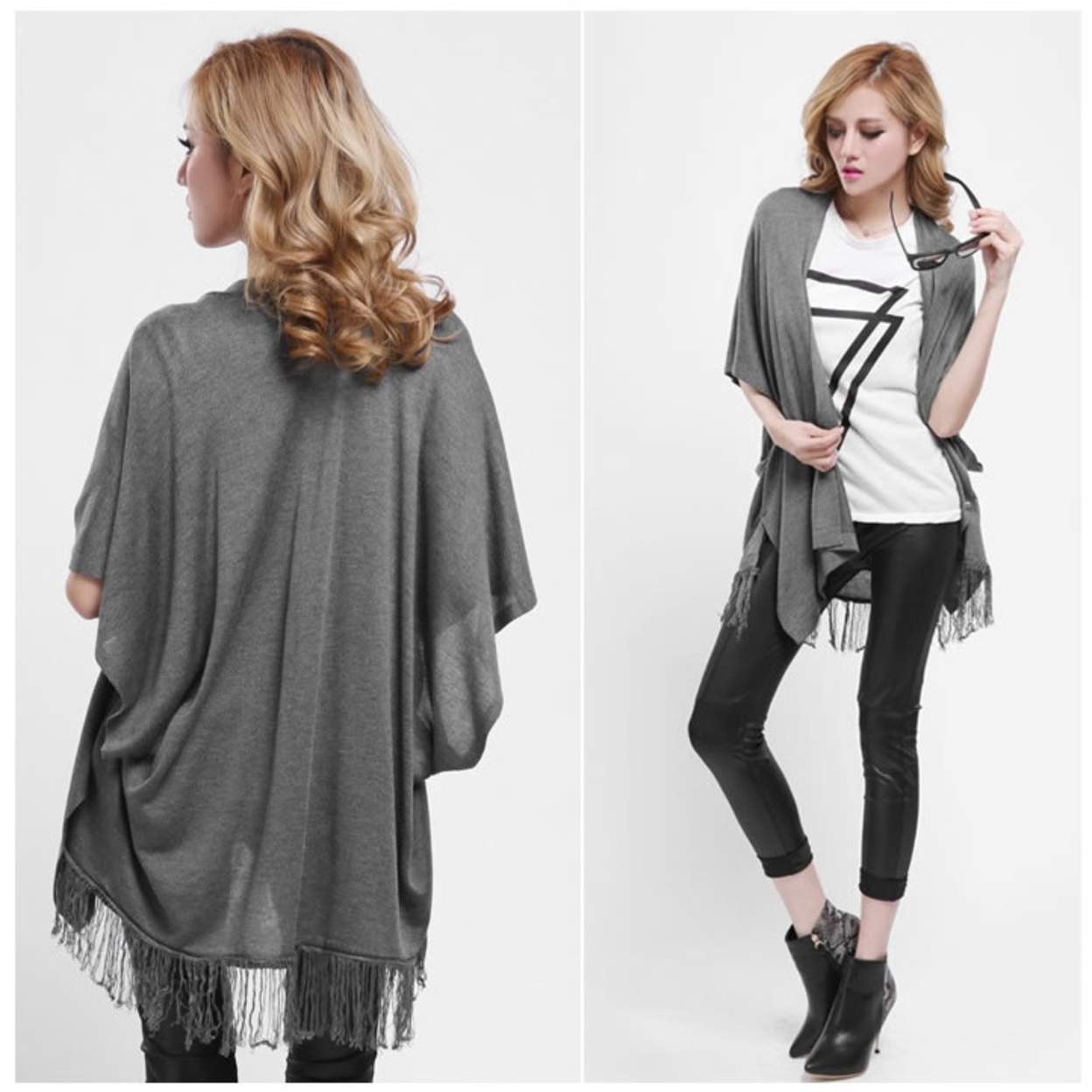 Retro Wrap Poncho With Fringe Benefits - Olive Green 556f63a1483d6f2a038b478e