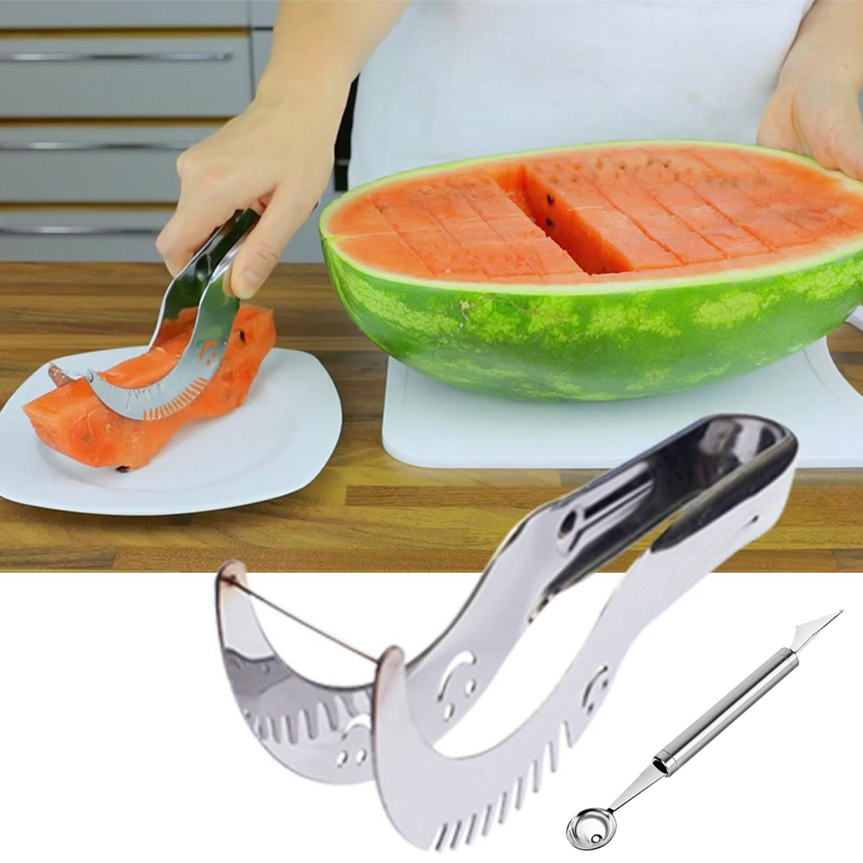 Wowzy 2 In 1 Deal Watermelon Slicer With Mellon Baller And Fruit Carver
