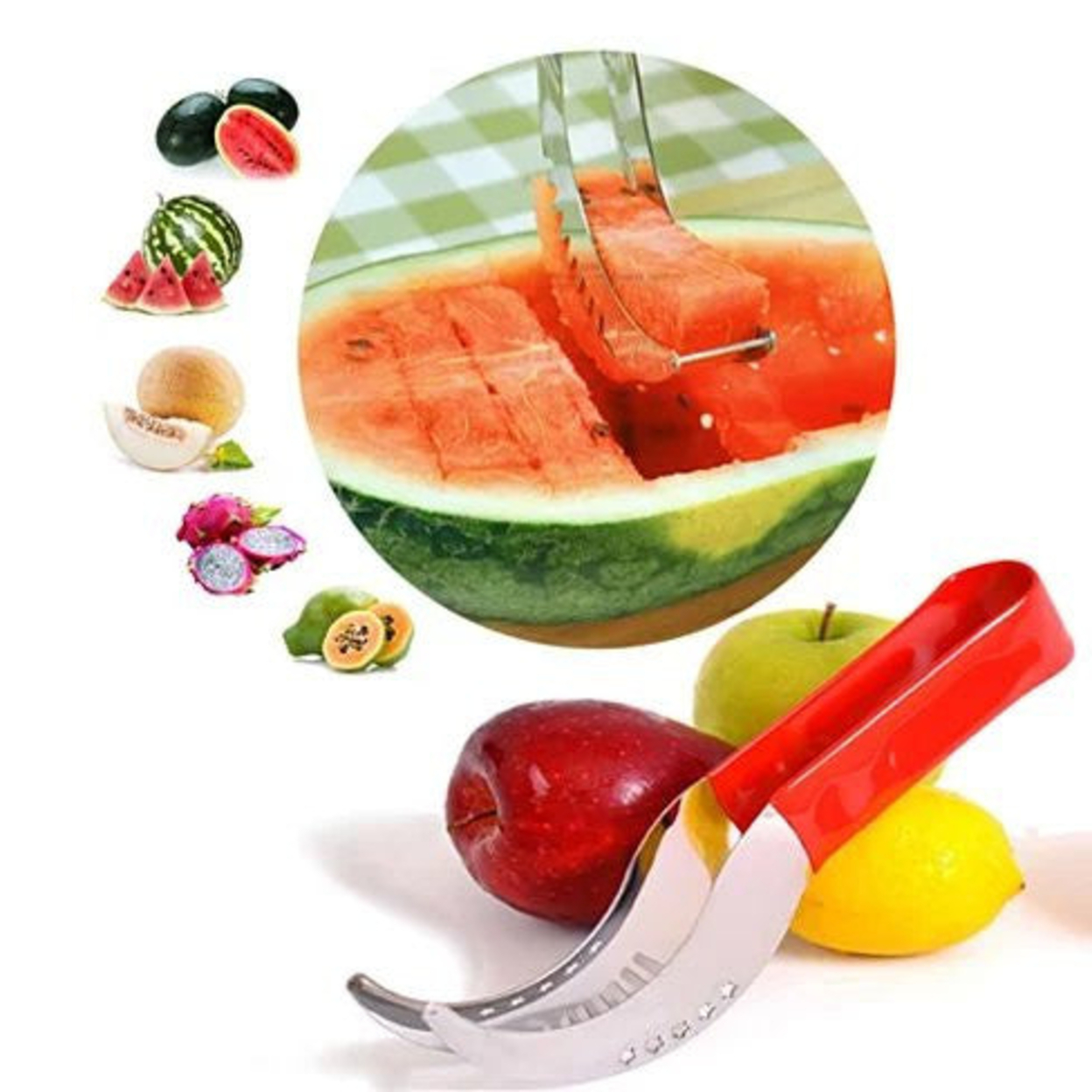 Wowzy Red And All Steel Watermelon Any Melon Slicer And Cake Cutter WowzyAll Steel