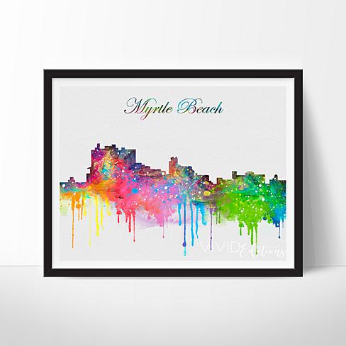 Buy Myrtle Beach South Carolina Skyline Watercolor Art Print By Vivideditions On Opensky