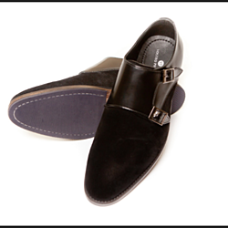 Black on Black Suede Double Monk Straps