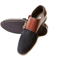 Navy Suede Double Monk Straps