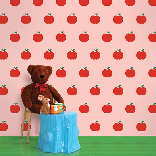 Buy Apples Pink Red Removable Peel And Stick Wallpaper By