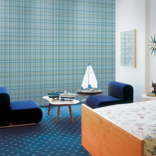 Buy Plaid Blue Removable Peel And Stick Wallpaper By