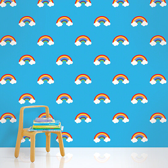 Buy Rainbows Blue Removable, Peel and Stick Wallpaper by WallCandy ...