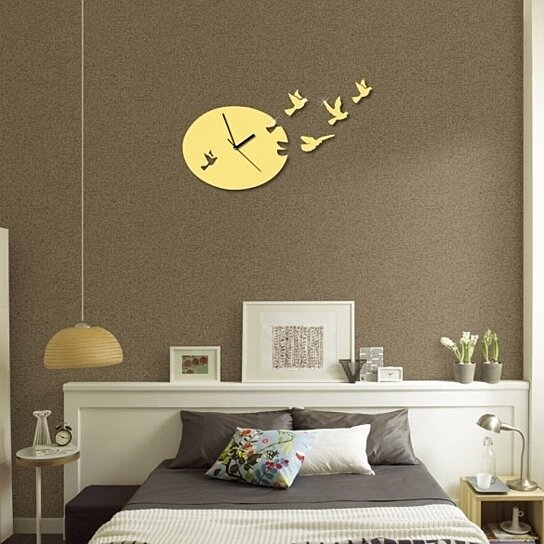 Buy 3d Diy Mirror Wall Stickers Clock Watches Modern Dove
