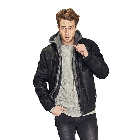 09c75d45c2b Trending product! This item has been added to cart 72 times in the last 24  hours. Men s Hooded Leather Jacket
