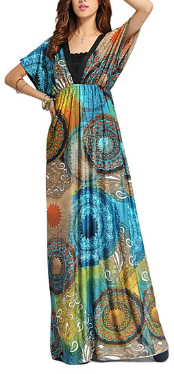 Buy Women S Boho Bohemian V Neck Beach Maxi Dress Plus