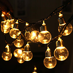 220V 20 LED Light Bulb Ball String Fairy Lights For Bedroom Xmas Wedding Party