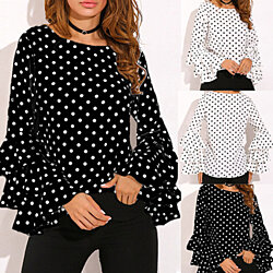 Bell Sleeve Loose Polka Dot Blouse