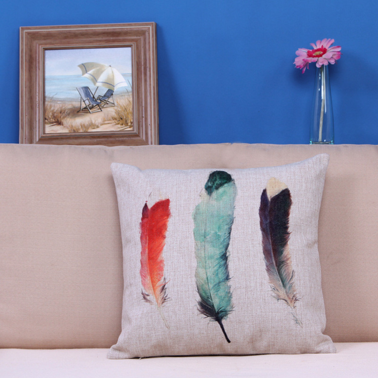 Home Car Bed Sofa Decorative Colorful Feather Pillow Case Cushion Cover