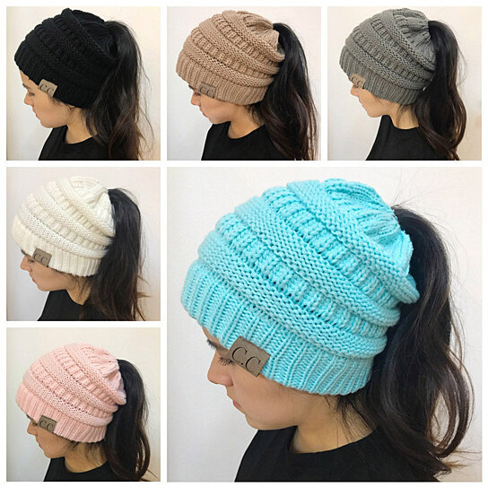 7848f556f15f Trending product! This item has been added to cart 37 times in the last 24  hours. Women Girl Stretch Knit Hat Messy Bun Ponytail Beanie Holey Warm  Winter