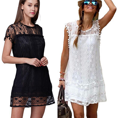 Lace Mini Shift Dress Available in Multiple Colors