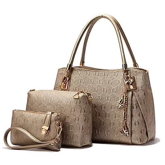 a20256ca06 Buy Deluxe Women 3 Piece Tote Bag Pu Leather Handbag Purse Bags Set by Warm  house on OpenSky