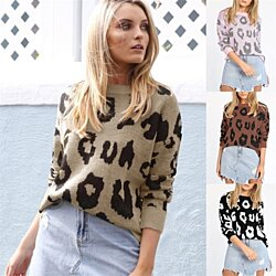 Long Sleeve Printed Loose Sweater