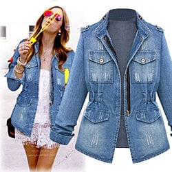 Denim Military Style Jacket with Flattering Waist-Cinch