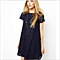 Loose short-sleeved lace dress