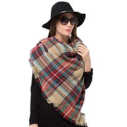 Plaid Blanket Scarf Oversized Tartan Wrap Shawl Cape Scarves