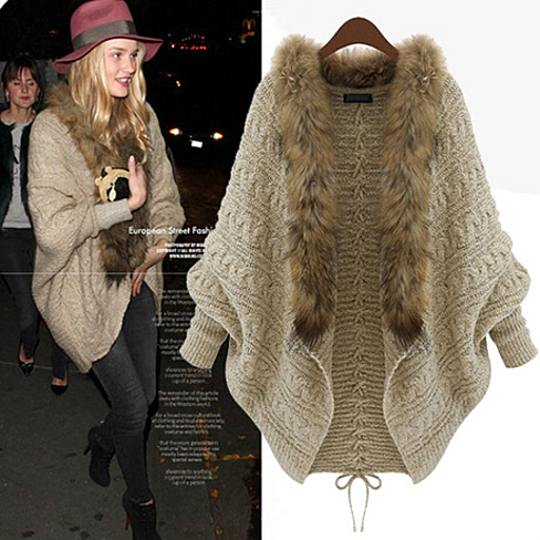 Womens Girls Batwing Knitted Sweater Faux Fur Collar Cardigan Coat