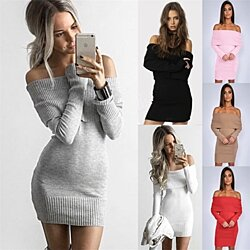 Women's Word Collar Off-Shoulder Sexy Slim Sweater Dress