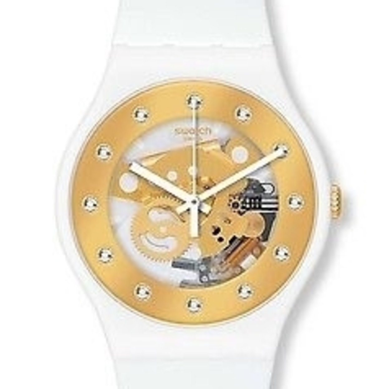 s watches swatch sunray glam gold white