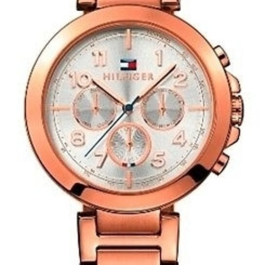buy tommy hilfiger rose gold tone stainless steel silver dial ladies watch 1781452 by 47watches. Black Bedroom Furniture Sets. Home Design Ideas