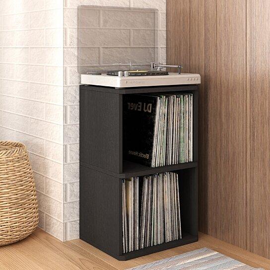 Storage & Media Accessories Latest Collection Of Eco 2-shelf Vinyl Lp Record Album Storage Cube Black Lifetime Guarantee