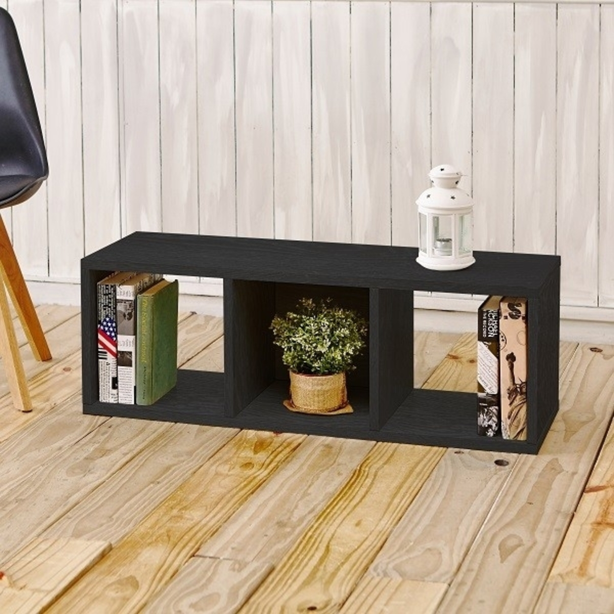 3 Cubby Stackable Storage Bench Espresso Wood Grain Tool Free Assembly Lifetime Warranty