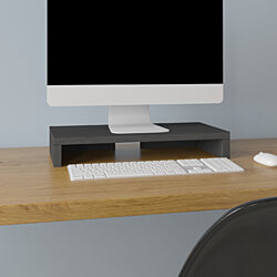 "Way Basics 19.7""W Simple Computer Monitor Stand, Black- Lifetime Guarantee"