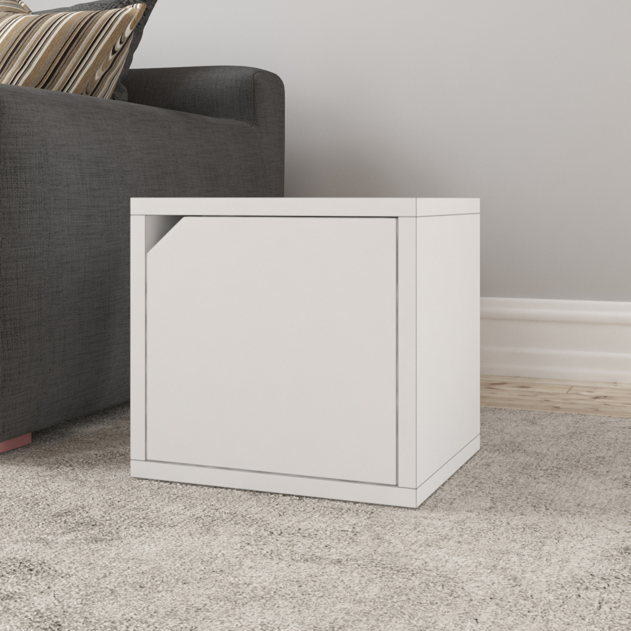 Eco Stackable Connect Storage Cube with Door, Natural White – Tool Free Assembly – Lifetime Warranty
