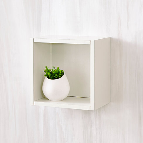 Way Basics Eco Wall Cube and Decorative Shelf, White