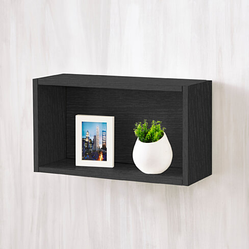 Way Basics Eco Wall Rectangle and Decorative Shelf, Black