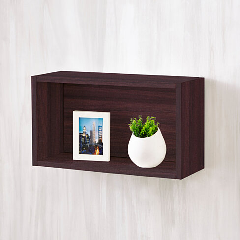 Way Basics Eco Wall Rectangle and Decorative Shelf, Espresso