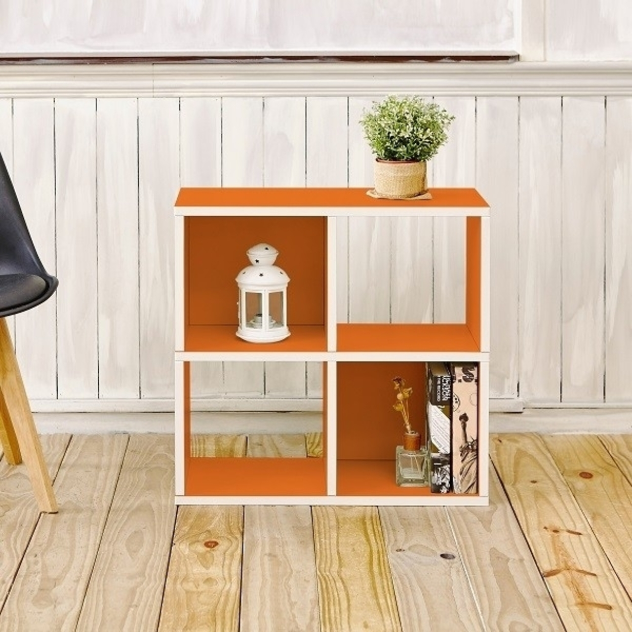 Eco Stackable Quad Cubby Organizer Orange Tool-free Assembly Non Toxic Lifetime Warranty